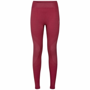 Damskie termoaktywne getry Odlo SUW Bottom Pant PERFORMANCE Warm-Rumba Red-Mesa Rose